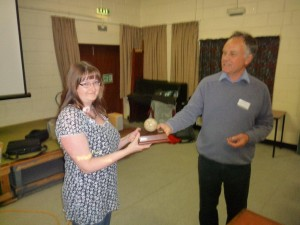 Christine Beale receiving the Robin Townley award