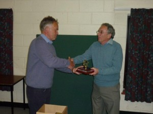 Peter Burgess receiving the Dan Turton award